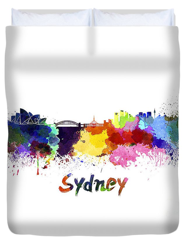 Sydney Duvet Cover featuring the painting Sydney Skyline In Watercolor by Pablo Romero