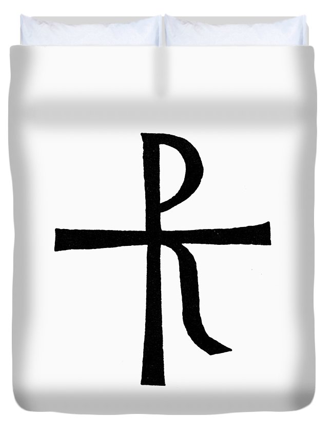 Chrismon Duvet Cover featuring the painting Symbol Christ by Granger