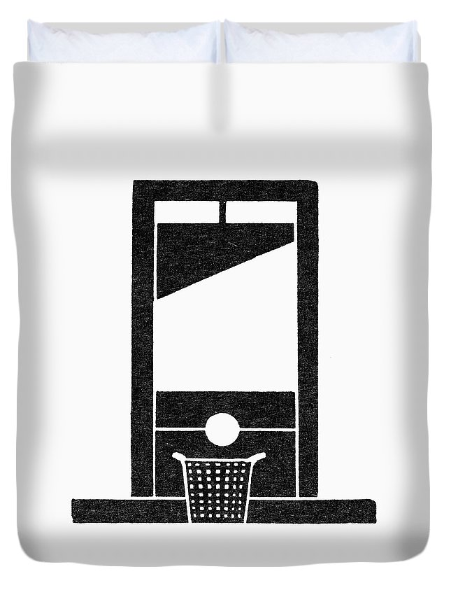 Apparatus Duvet Cover featuring the painting Symbol Guillotine by Granger