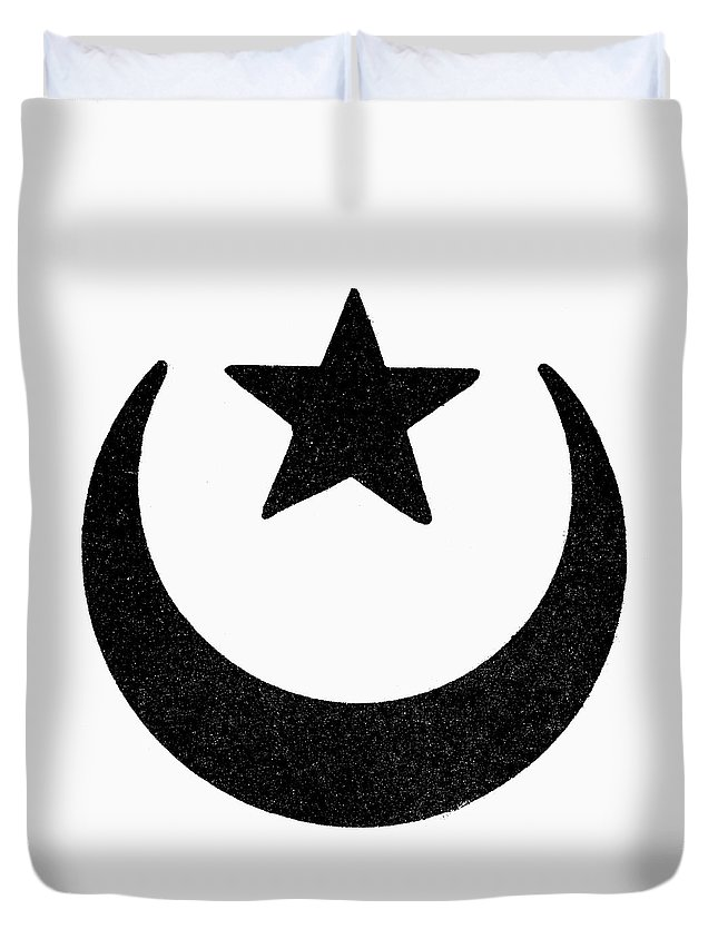 Crescent Duvet Cover featuring the painting Symbol Islam by Granger