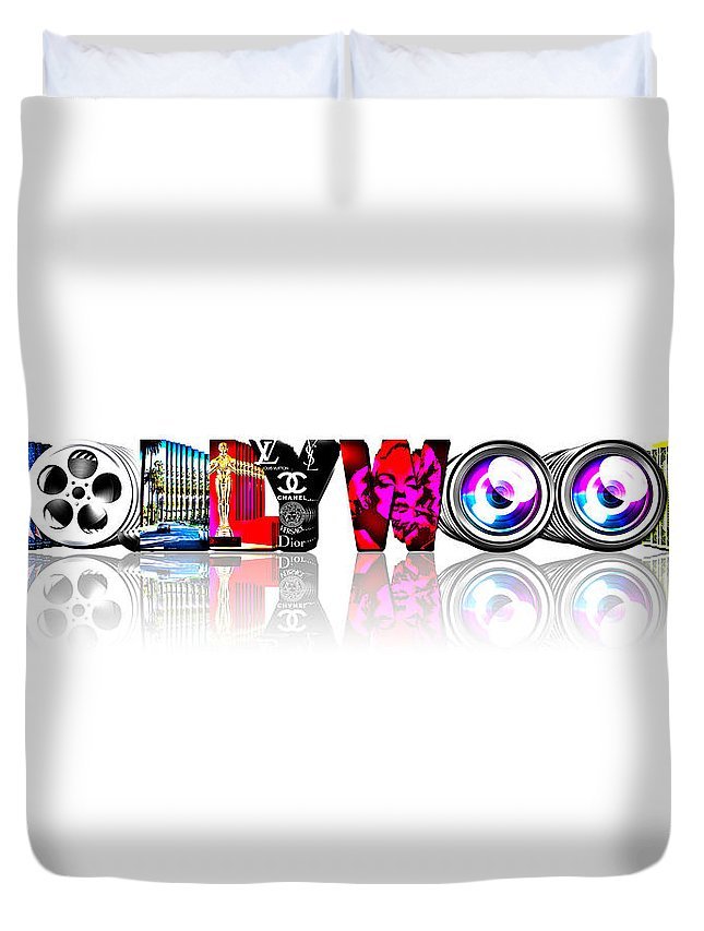Hollywood Duvet Cover featuring the digital art Symbollywood by Jan Raphael
