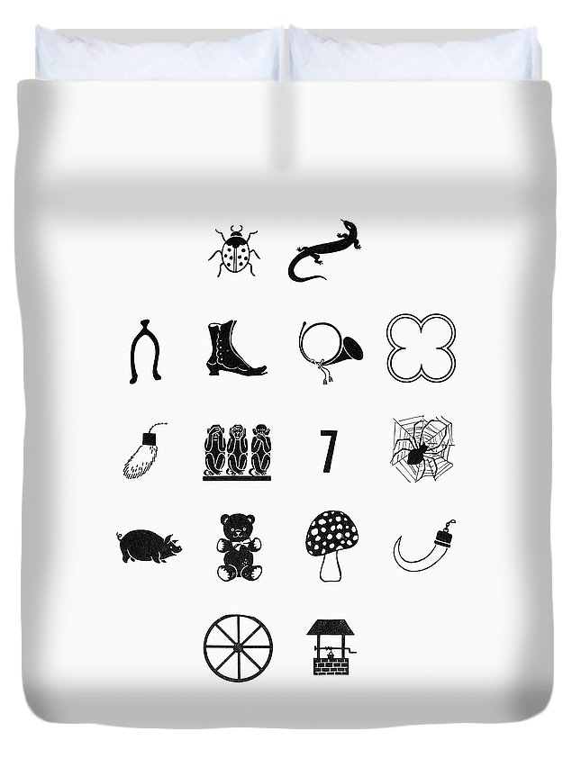 Bugle Duvet Cover featuring the painting Symbols Good Luck by Granger
