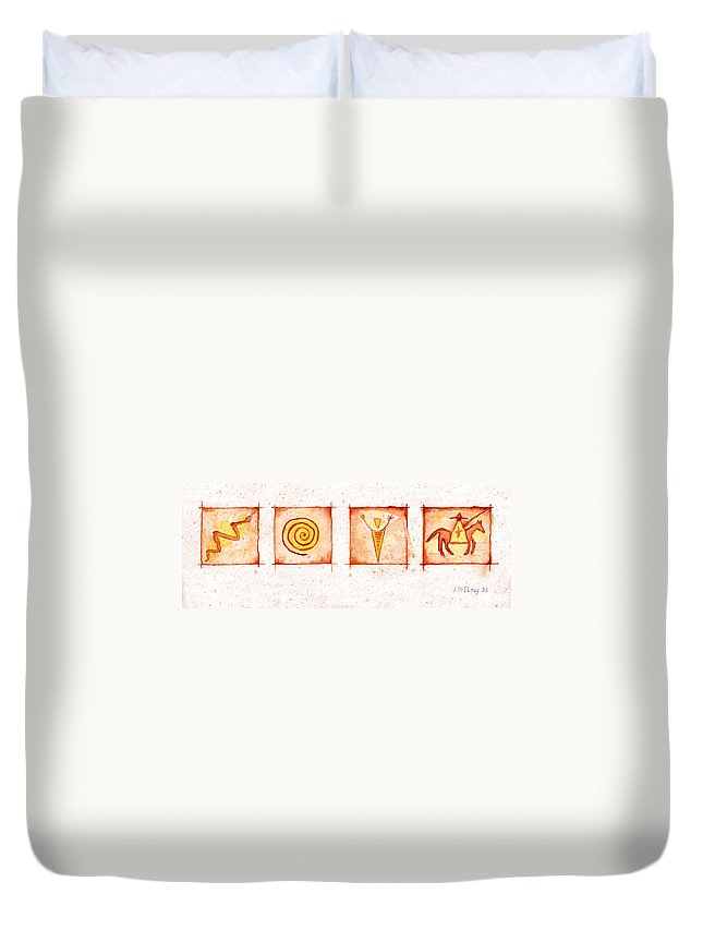 Petroglyphs Duvet Cover featuring the painting Symbols In Stone by Jerry McElroy
