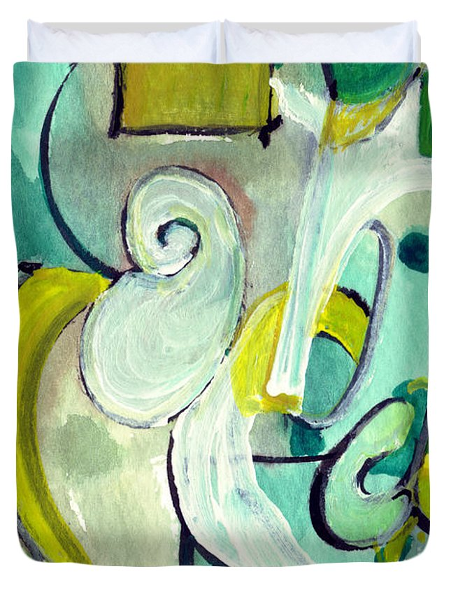 Abstract Art Duvet Cover featuring the painting Symphony In Green by Stephen Lucas