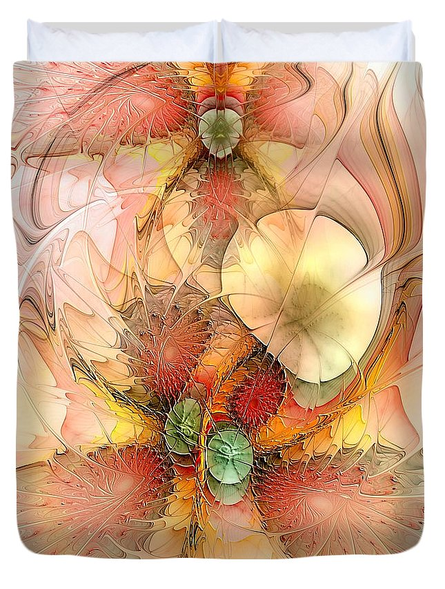 Abstract Duvet Cover featuring the digital art Syncopated Summer Passion by Casey Kotas