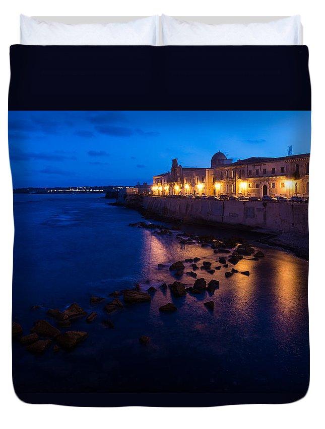 Syracuse Duvet Cover featuring the photograph Syracuse Sicily Blue Hour - Ortygia Evening Mood by Georgia Mizuleva