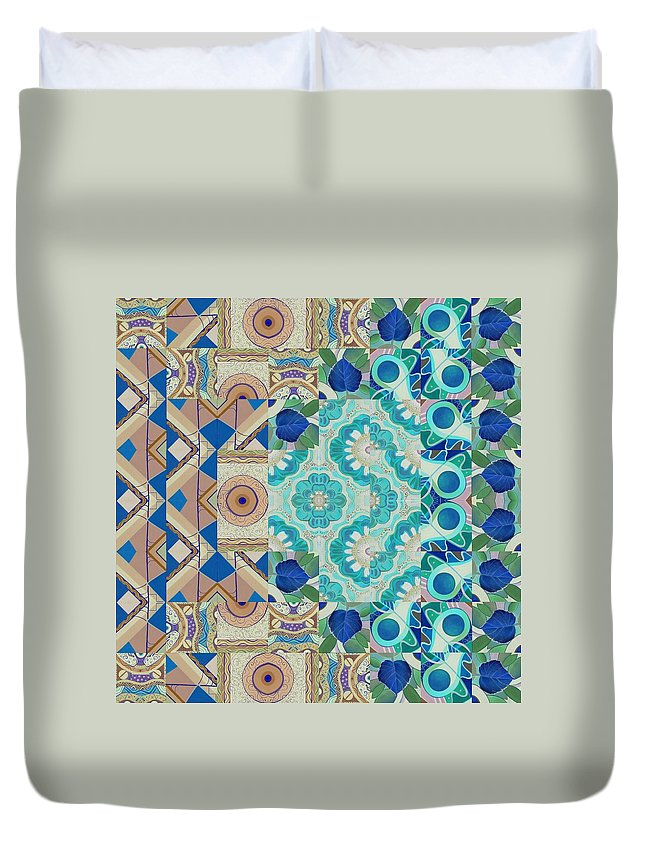 Fun Duvet Cover featuring the painting T J O D Mandala Series Puzzle 5-3 Inverted by Helena Tiainen
