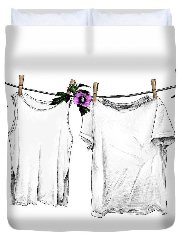 Empty Duvet Cover featuring the digital art T-shirt And Sleeveless T-shirt Hanging by Maksim-manekin