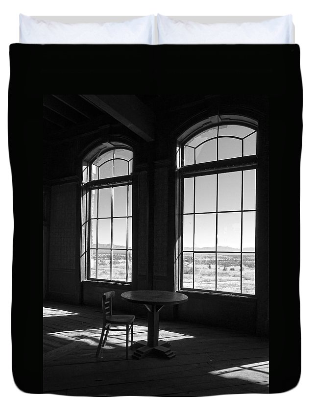 Lucinda Walter Duvet Cover featuring the photograph Table And Chair And The Windows by Lucinda Walter