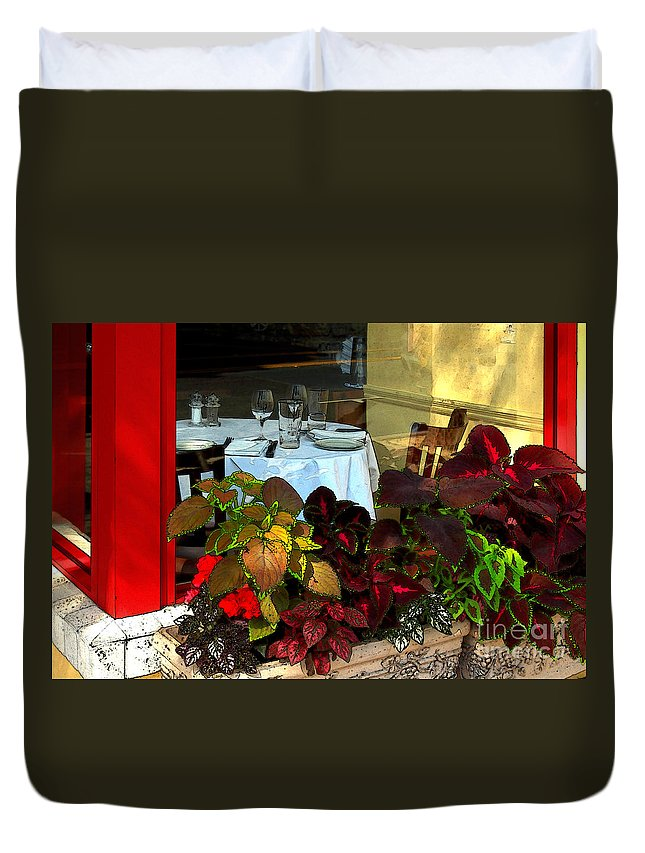 Table Duvet Cover featuring the photograph Table In The Window by James Eddy