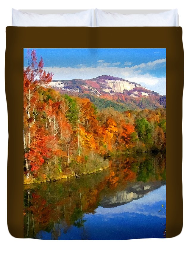 Table Rock Duvet Cover featuring the painting Table Rock Mirrored by Lynne Jenkins