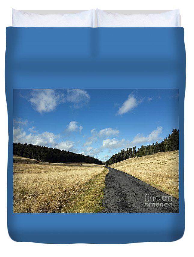 Czech Duvet Cover featuring the photograph Tableland With Road by Michal Boubin