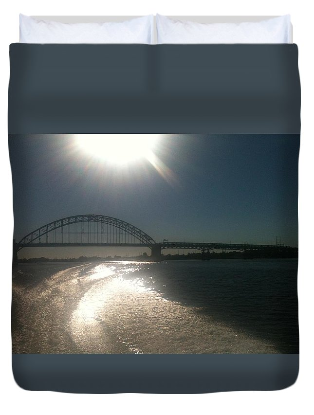 Hot Duvet Cover featuring the photograph Tacony/Palmyra Hot Summer D by Sheila Mashaw