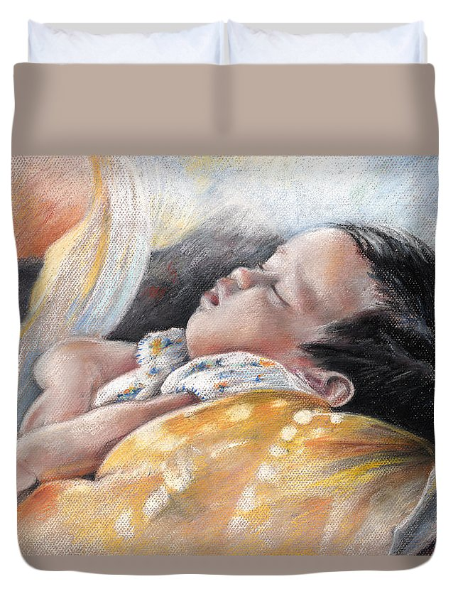 Travel Duvet Cover featuring the painting Tahitian Baby by Miki De Goodaboom