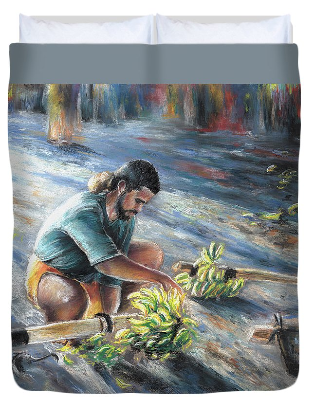Travel Duvet Cover featuring the painting Tahitian Banana Carryer by Miki De Goodaboom