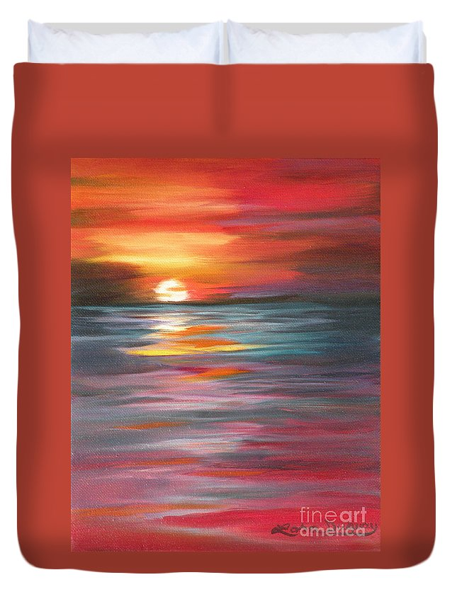 Sunset Duvet Cover featuring the painting Tahitian Sunset by Lora Duguay