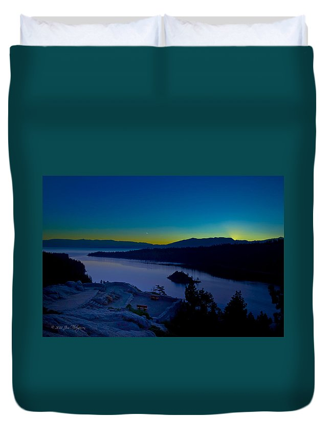 Lakes Duvet Cover featuring the photograph Tahoe Sunrise by Jim Thompson