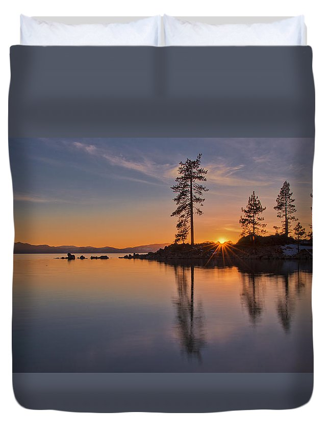 Lake Duvet Cover featuring the photograph Tahoe Winter Sunset by Dianne Phelps