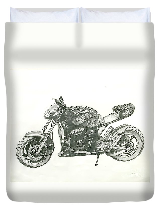 Biker Duvet Cover featuring the drawing Tail In The Air by Stephen Brooks