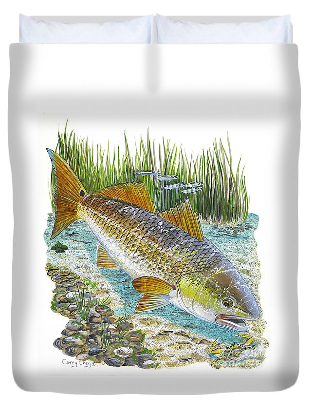 Redfish Duvet Cover featuring the painting Tailing Red by Carey Chen