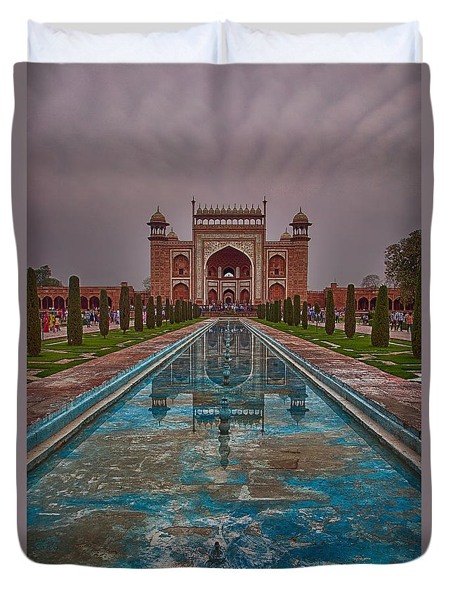 India Duvet Cover featuring the photograph Taj Mahal Great Gate Reflection by Martin Belan