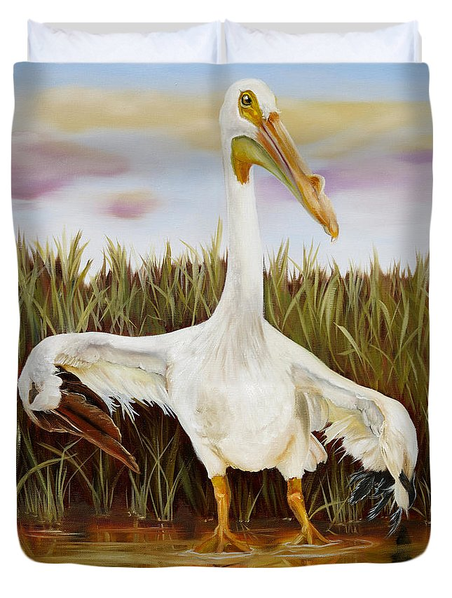 Bird Duvet Cover featuring the painting Take A Bow To Kindness by Phyllis Beiser
