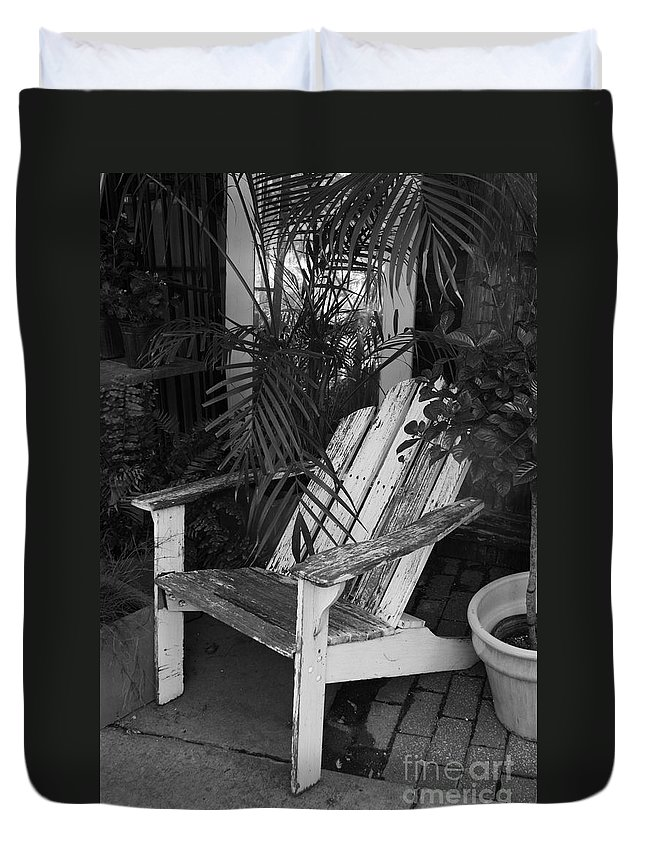 Black & White Duvet Cover featuring the photograph Take A Load Off by Crystal Nederman
