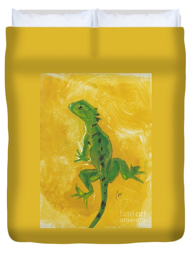 Lizard Duvet Cover featuring the mixed media Take Five by Cori Solomon