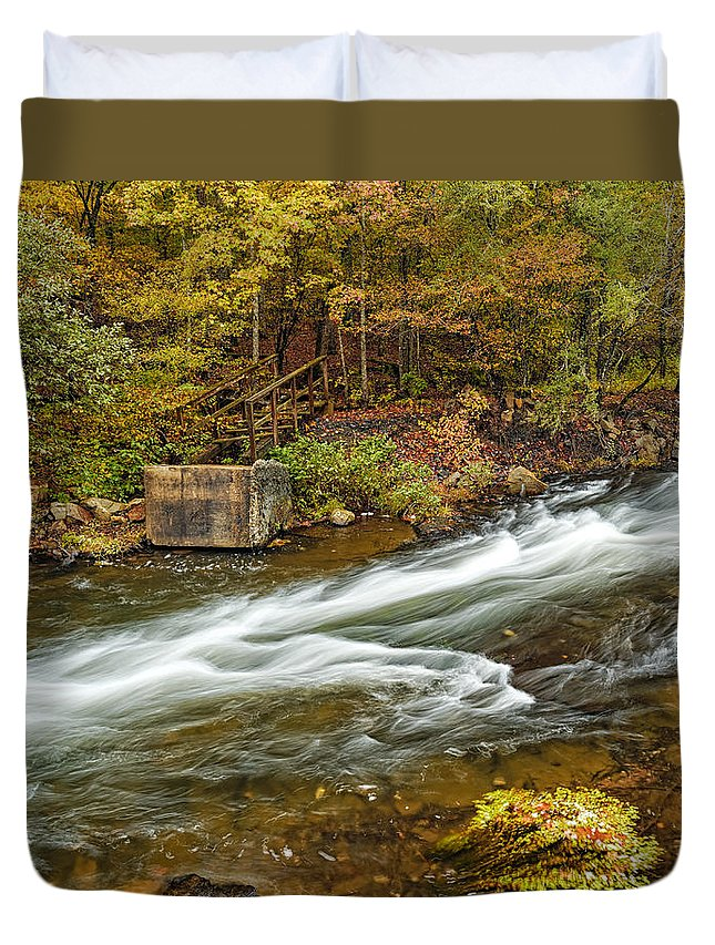 Long Exposure Photography Duvet Cover featuring the photograph Take Me To The Other Side Beaver's Bend Broken Bow Lake Flowing River Fall Foliage by Silvio Ligutti