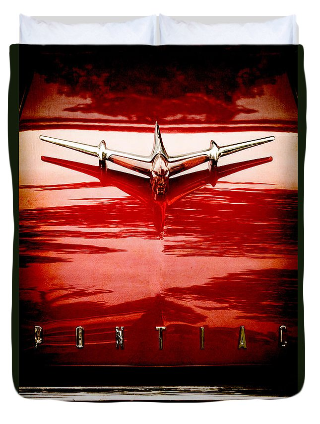 Plane; Airplane; Car; Automobile; Vehicle; Pontiac; Detail; Red; Reflection; Metal; Vintage; Old; Hot Rod; 1955; Star Chief; Hood Ornament; Name; Chrome; 1950s; 50s Duvet Cover featuring the photograph Take Off by Margie Hurwich