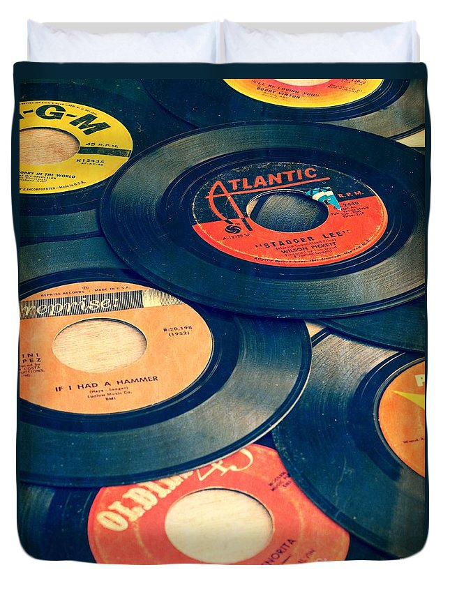 45s Duvet Cover featuring the photograph Take Those Old Records Off The Shelf by Edward Fielding