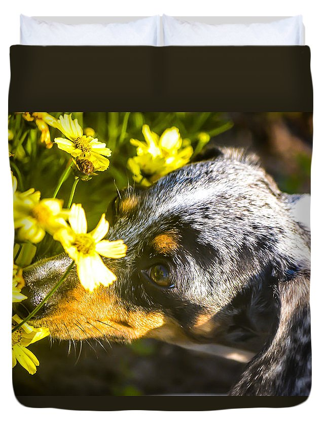 Landscape Duvet Cover featuring the photograph Take Time To Smell The Flowers by Mary Hahn Ward