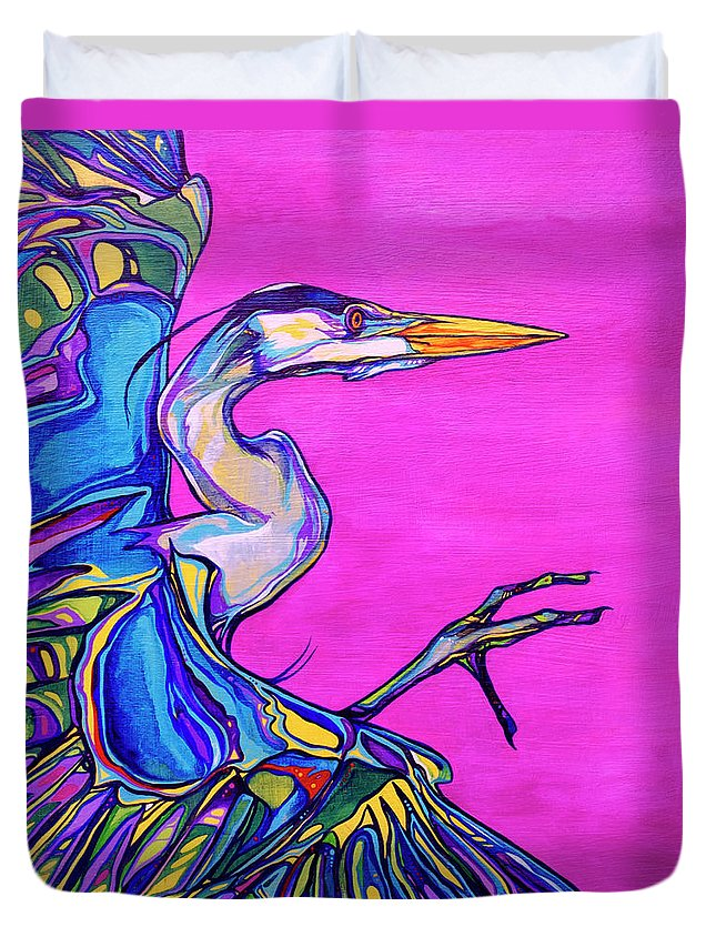 Heron Paintings Duvet Cover featuring the painting Taking Flight by Derrick Higgins