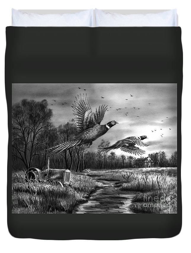 Taking Flight Duvet Cover featuring the drawing Taking Flight by Peter Piatt