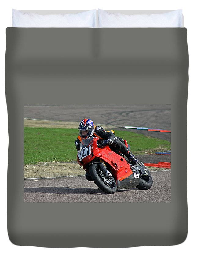 Motor Bike Duvet Cover featuring the photograph Taking The Bend by Tony Murtagh