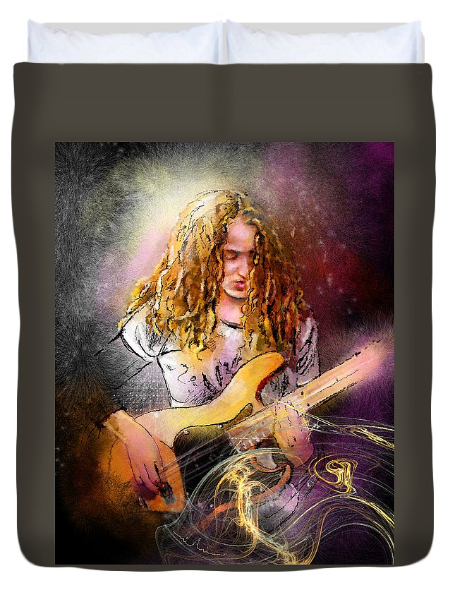 Music Duvet Cover featuring the painting Tal Wilkenfeld by Miki De Goodaboom