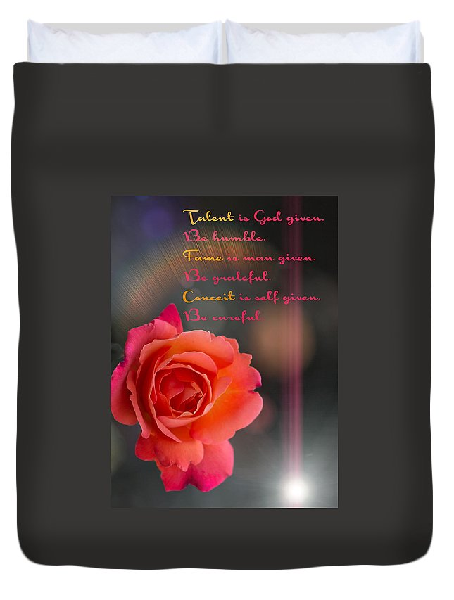 Rose Duvet Cover featuring the photograph Talent Fame And Conceit by Alex Art and Photo