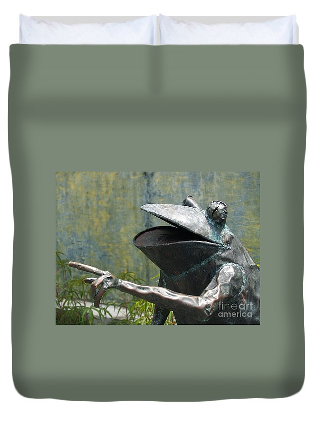 Duvet Cover featuring the photograph Talking Frog by Robin Maria Pedrero