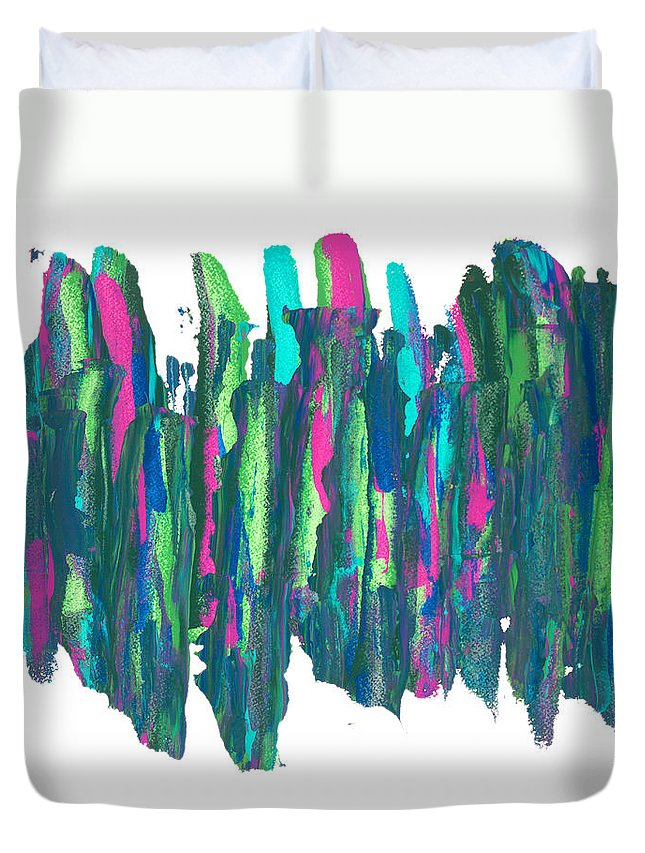 Abstract Duvet Cover featuring the painting Talking Walking by Bjorn Sjogren