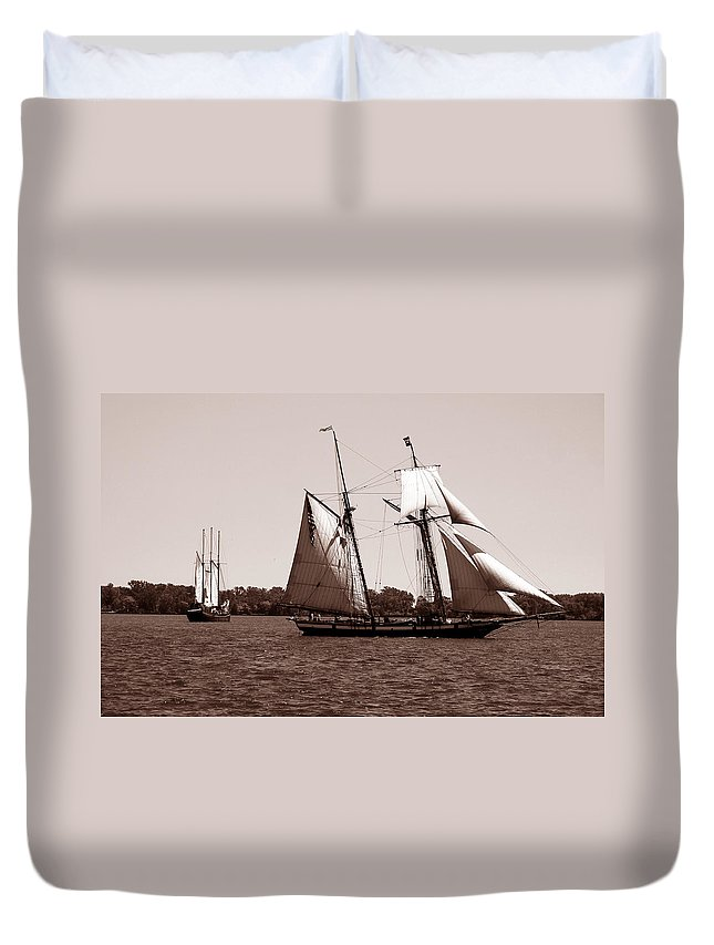 Tallship Duvet Cover featuring the photograph Tall Ships 3 by Andrew Fare