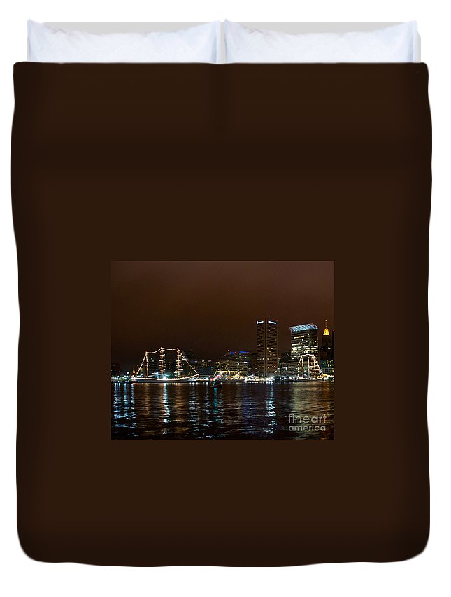 Baltimore Duvet Cover featuring the photograph Tall Ships At Night Panorama Set Panel 1 by Mark Dodd