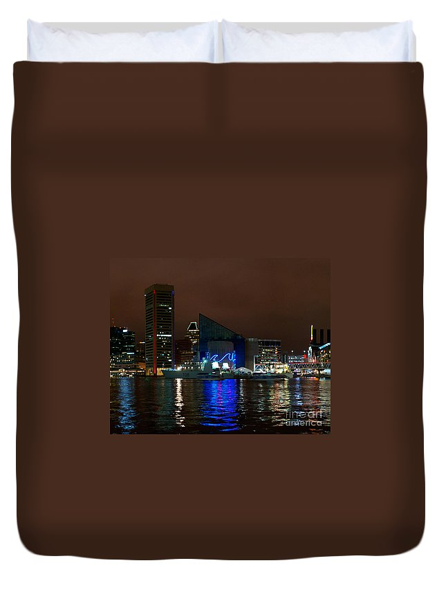 Baltimore Duvet Cover featuring the photograph Tall Ships At Night Panorama Set Panel 2 by Mark Dodd