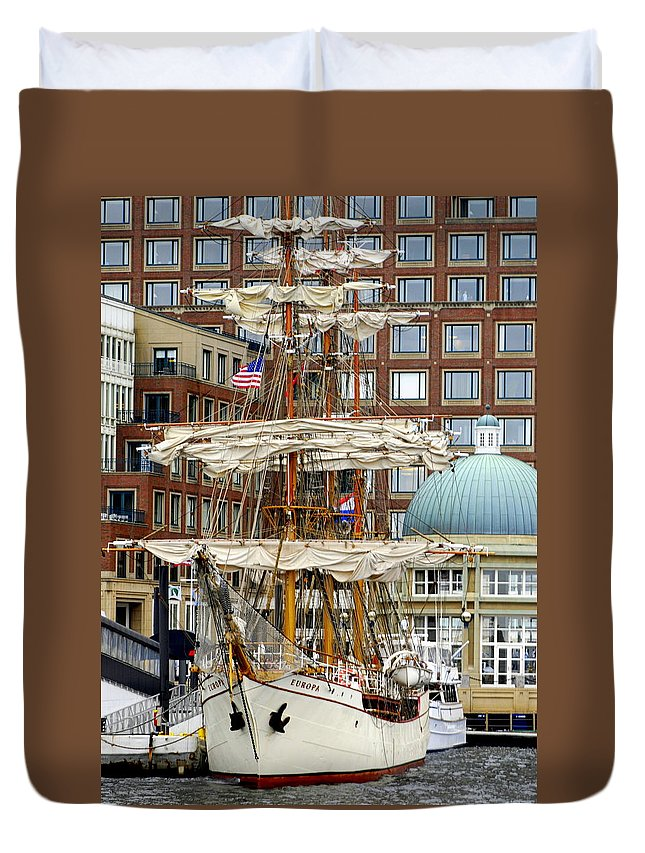 Boston Duvet Cover featuring the photograph Tall Ships In Boston by Caroline Stella