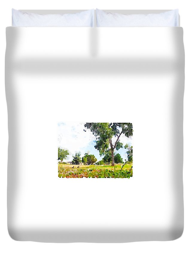 Waterlogue Duvet Cover featuring the digital art Tall Trees by Shannon Grissom