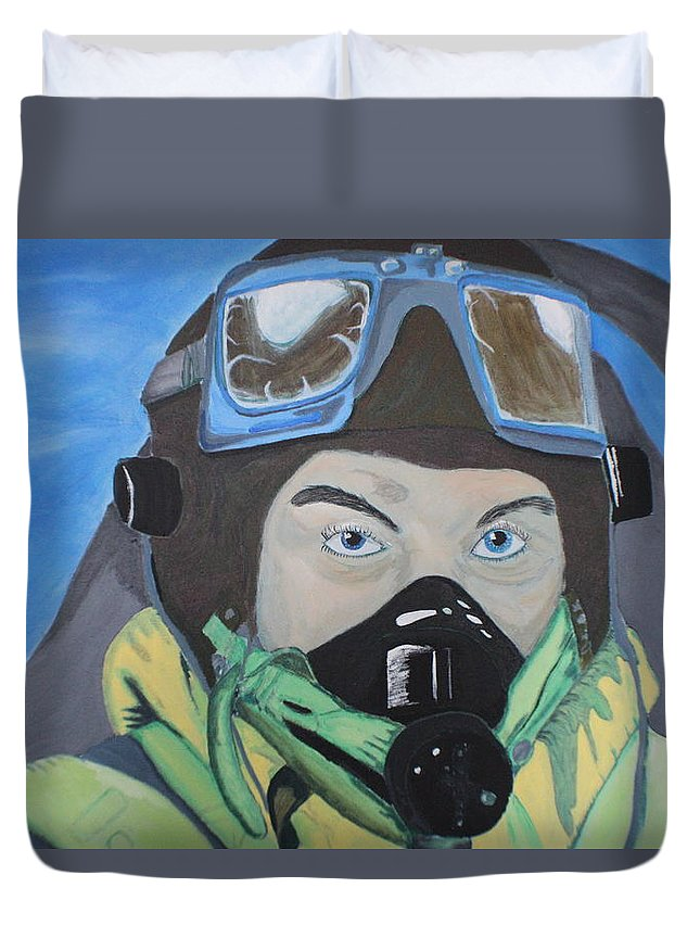 Spitfire Pilot Duvet Cover featuring the painting Tally Ho by Robert Phelan