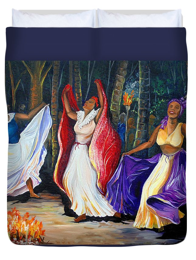 Caribbean Dance Duvet Cover featuring the painting Tamboulay by Karin Dawn Kelshall- Best