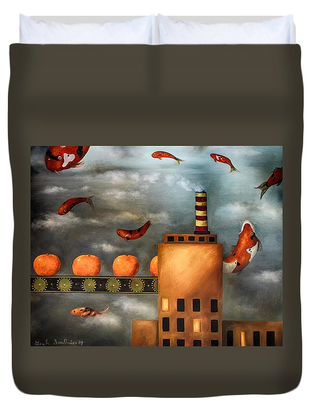 Tangerine Duvet Cover featuring the painting Tangerine Dream Edit 2 by Leah Saulnier The Painting Maniac