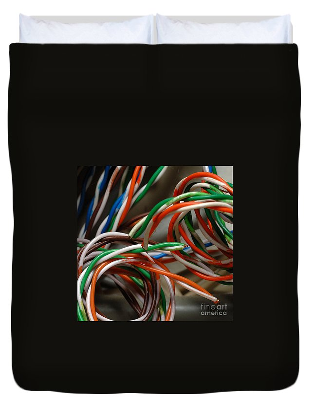 Colorful Duvet Cover featuring the photograph Tangle Of Colorful Wires by Amy Cicconi