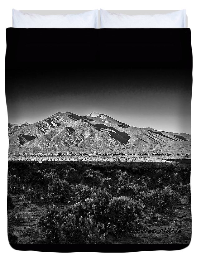 Taos Duvet Cover featuring the photograph Taos In Black And White X by Charles Muhle