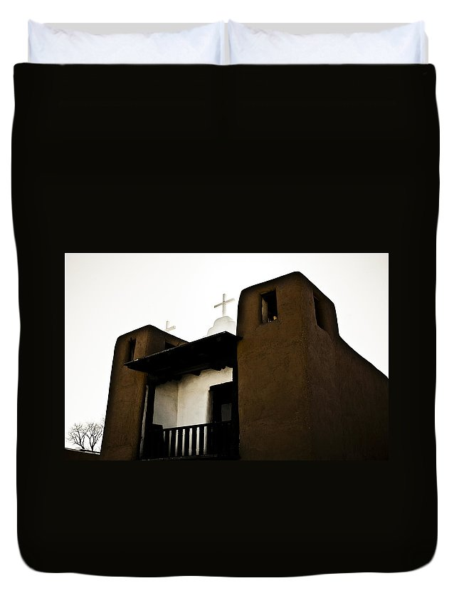 New Mexico Duvet Cover featuring the photograph Taos Pueblo by Marilyn Hunt